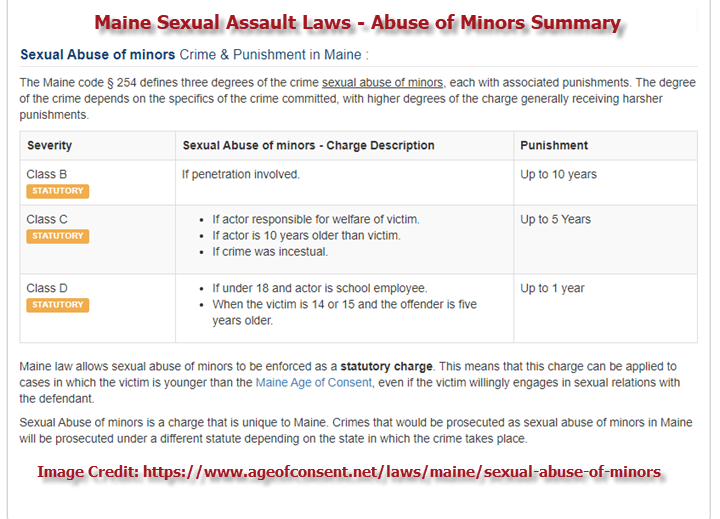 Maine Sexual Assoult Laws Abuse of Minors Summary